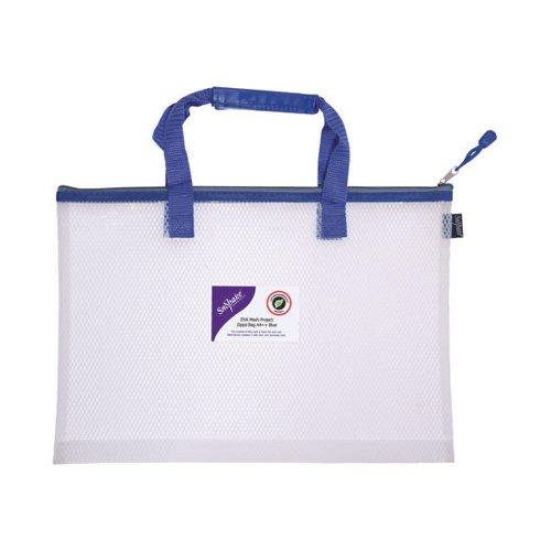 Snopake EVA Mesh High Capacity Project Zippa Bag A4 405x280mm Blue 15871