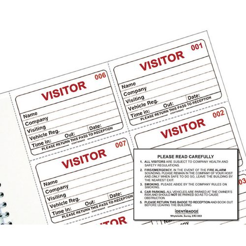 Pack of 300 IBRSYS300 Identibadge System Visitors Book Refill