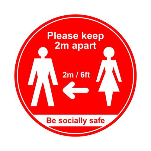 400mm Floor Graphic Please Keep 2m Apart Red STP001