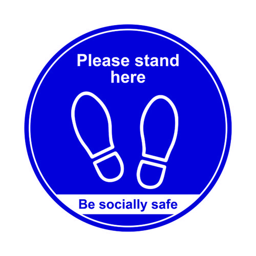 400mm Floor Graphic Please Stand Here Blue STP007