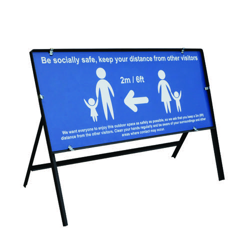 Be Socially Safe Safe Q Sign Blue 1050x450mm STP111