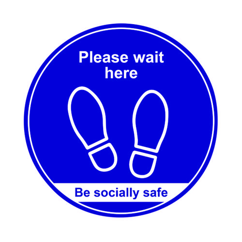 Floor Sign Wait Here Blue 400mm (Pack of 5) STP011-5