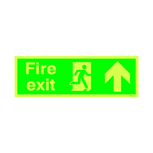 Safety Sign Niteglo Fire Exit Running Man Arrow Up 150x450mm PVC FX04711M