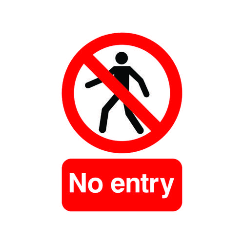 Warning Sign No Entry A5 Self-Adhesive ML01751S