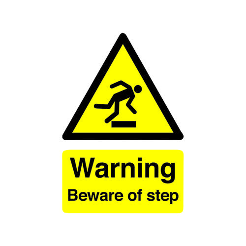 Safety Sign Warning Beware of Step A5 Self-Adhesive HA21451S