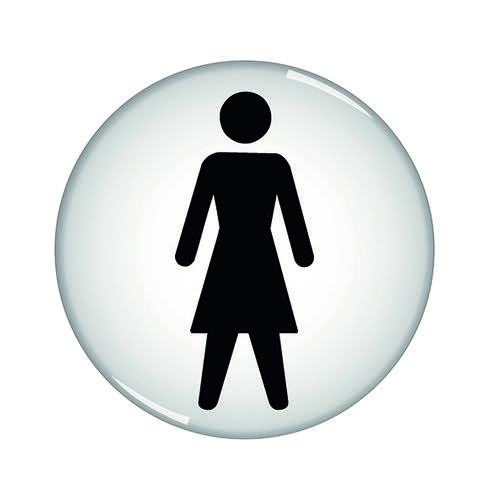 Domed Sign Women Symbol 60mm (Self-Adhesive Backing Black Figure on White Background) RDS1