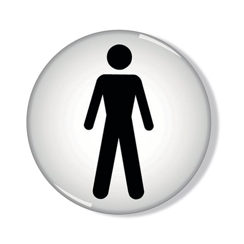Domed Sign Men Symbol 60mm (Self-Adhesive backing black figure on white background) RDS2