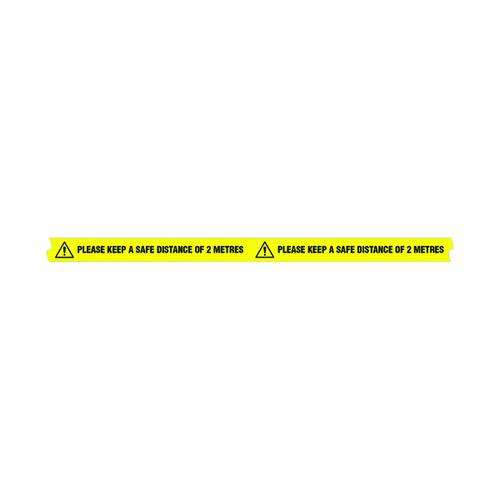 Please Keep A Safe Distance of 2M 2 Metre Sticky Floor Tape 33M Roll