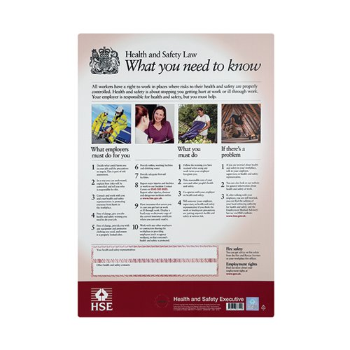 HSE Health And Safety Law Poster A3 FWC30/A3 Health & Safety Posters SR66369