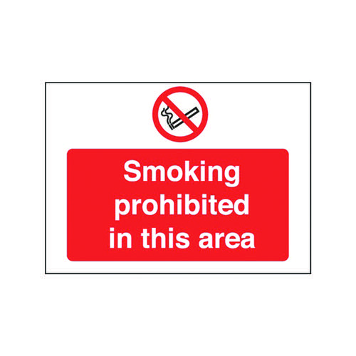 Safety Sign Smoking Prohibited in This Area 450x600mm PVC P35Z/R