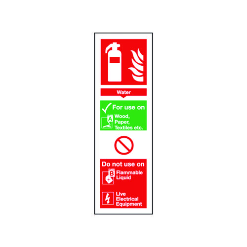 Safety Sign Fire Extinguisher Water 300x100mm Self Adhesive FR09425S