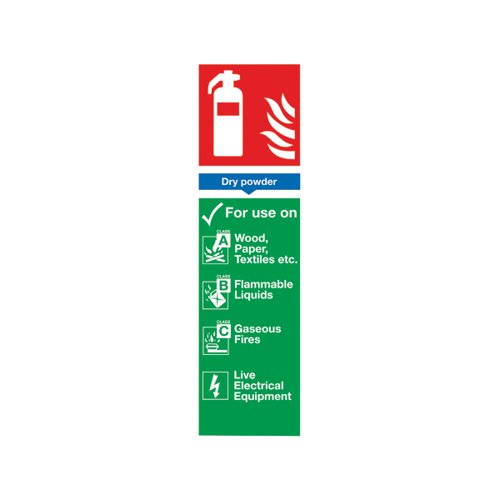 Safety Sign Fire Extinguisher Dry Powder 300x100mm PVC FR02625R