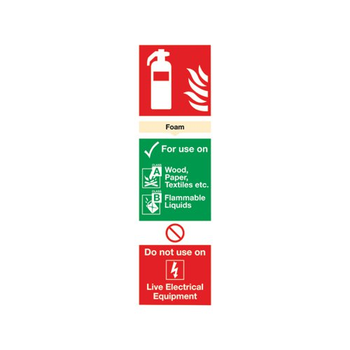 Safety Sign Fire Extinguisher Foam 300x100mm PVC FR08025R