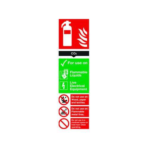 Safety Sign Carbon Dioxide Fire Extinguisher 300x100mm PVC FR02125R