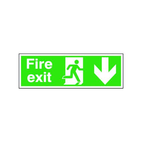 Safety Sign Fire Exit Running Man Arrow Down 150x450mm Self-Adhesive E100A/S