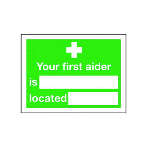 Safety Sign Your First Aider Is 150x200mm Self-Adhesive E42A/S First Aid Signs SR71214