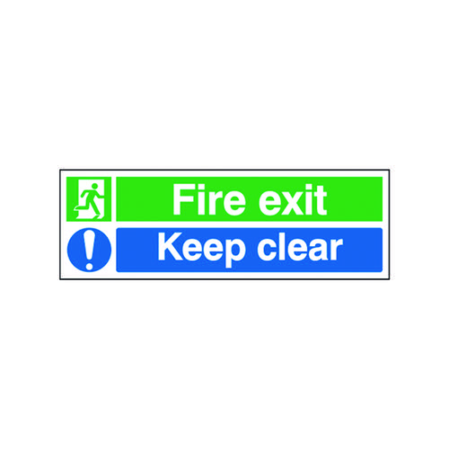 Safety Sign Fire Exit Keep Clear 150x450mm Self-Adhesive EC08S/S