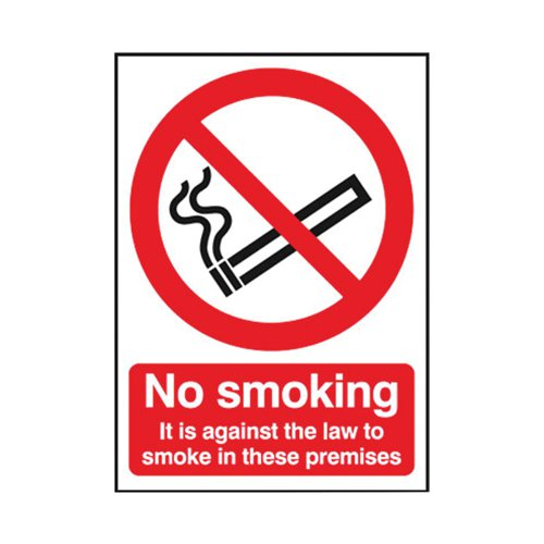 Safety Sign 297x210mm No Smoking Self-Adhesive SR72082