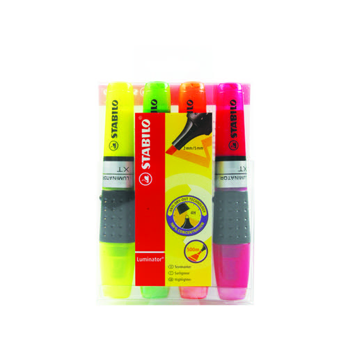 Stabilo Luminator Highlighter Pen Assorted (Pack of 4) 71/4
