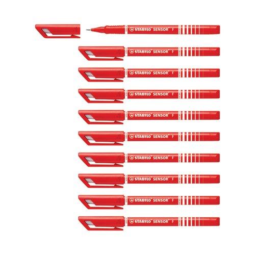 Stabilo Sensor F-tip Fineliner Pen Red (Pack of 10) 189/40