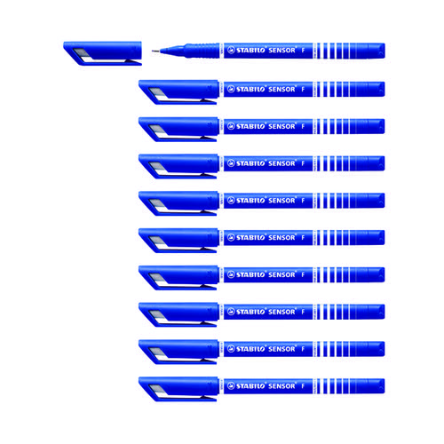 Stabilo Suspension Tip Fineliner Pens Blue (Pack of 10) 189/41