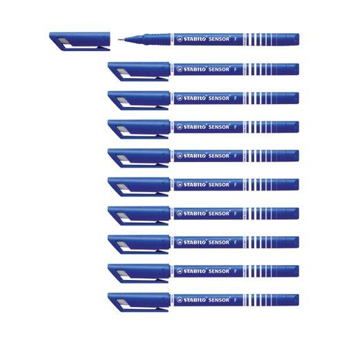 Stabilo Sensor F-tip Fineliner Pen Blue (Pack of 10) 189/41