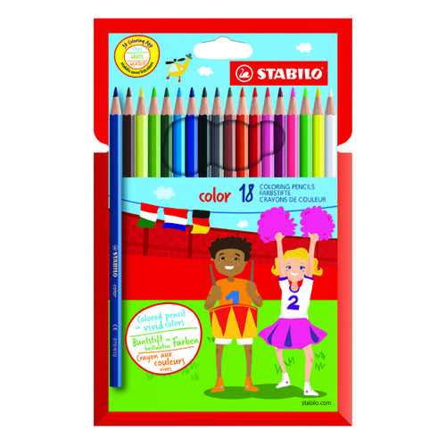 Stabilo Color 18 Premium Colouring Pencils with Hexagonal Barrel Assorted (Pack of 6) 1918/77-01