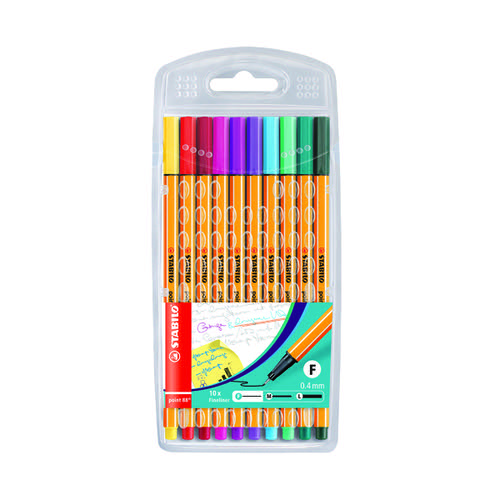 Stabilo Point 88 Fineliner Pen Assorted (Pack of 10) 8810