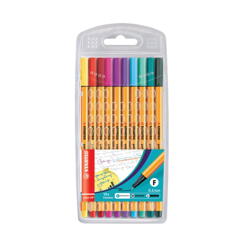 Stabilo Point 88 Fineliners Pens Assorted (Pack of 10) 8810