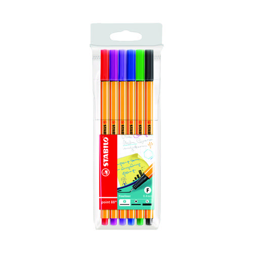 Stabilo Point 88 Point Fineliner Pen Wallet Assorted (Pack of 10) 88/6