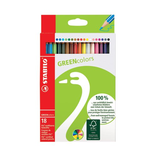 Stabilo Greencolors Colouring Pencils with Hexagonal Barrel Assorted (Pack of 18) 6019/2-181