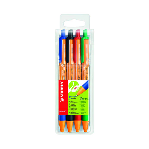 Stabilo Pointball Retractable Ball Pen Assorted (Pack of 4) 6030/4