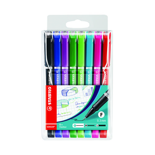 Stabilo Sensor Fineliner Bright Pen Assorted (Pack of 8) 189/8