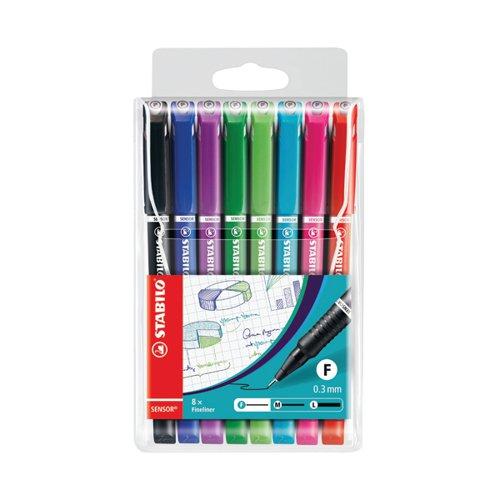 Stabilo Sensor F-tip Fineliner Pen Fine Tip Assorted (Pack of 8) 189/8