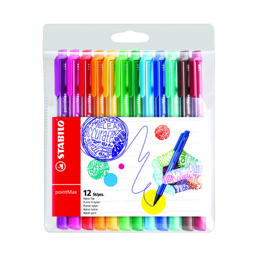 Stabilo pointMax Fineliner Pen Medium Tip Assorted (Pack of 12) 488/12-01