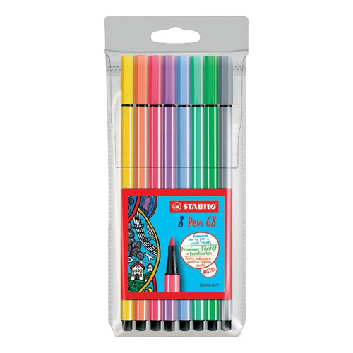 Stabilo 68 Felt Tip Pen Wallet Assorted Pastel (Pack of 10) 68/8-01