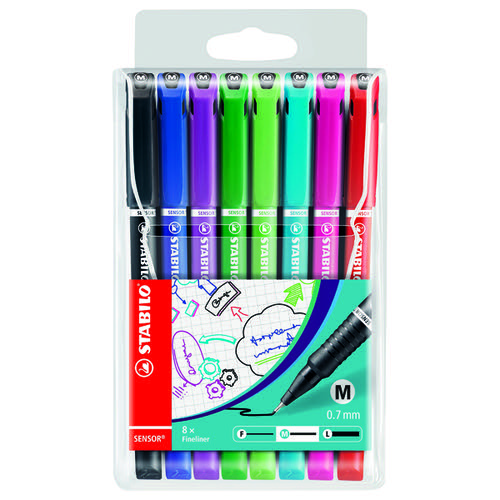 Stabilo Sensor Fineliner Medium Point Assorted (Pack of 8) 187/8