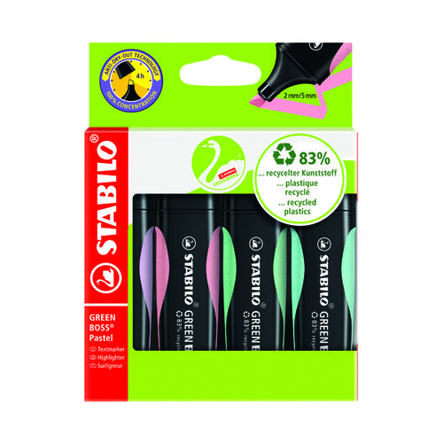 Stabilo Green Boss Highlighters Assorted Pastel (Pack of 4) 1523155