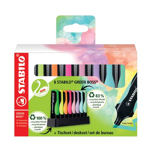 Stabilo Green Boss Desk Set Highlighter Assorted (Pack of 8) 6070/08-5