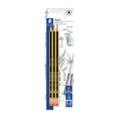 Noris Blister Card of 3 Eraser Tip Pencils (Pack of 10) 122-2BK3DA