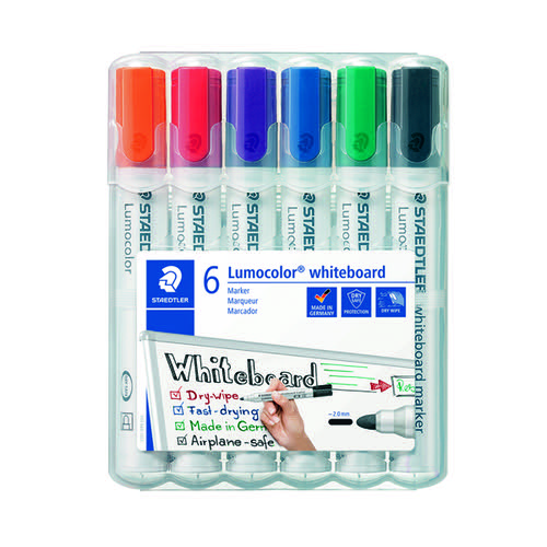 Staedtler Lumocolor 351 Drywipe Marker Assorted (Pack of 6) 351 WP6