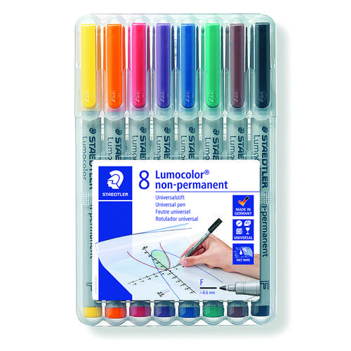 Staedtler Lumocolor Non-Permanent Medium Assorted (Pack of 8) 316 WP8