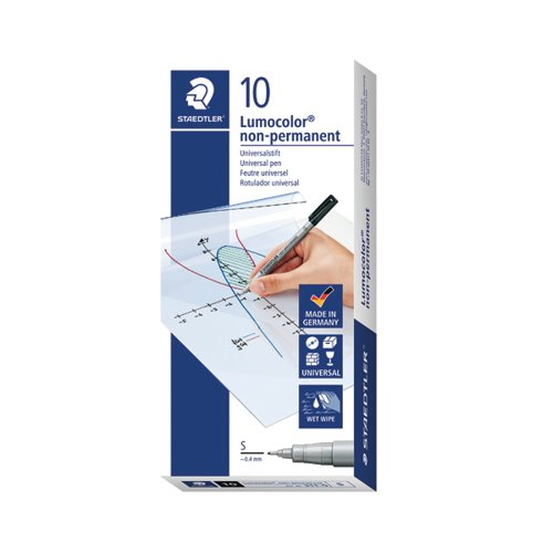 Staedtler Lumocolor Pen Superfine Non-Permanent Black (Pack of 10) 311-9