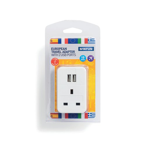 Status European USB Travel Adaptor (Pack of 3) S2USBPTEURO1PK3