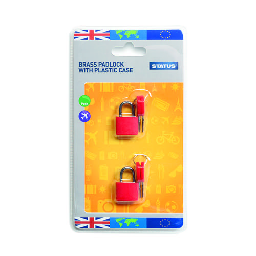 Status Brass Travel Padlock with Key (Pack of 5) SPCPLOCK2PK5