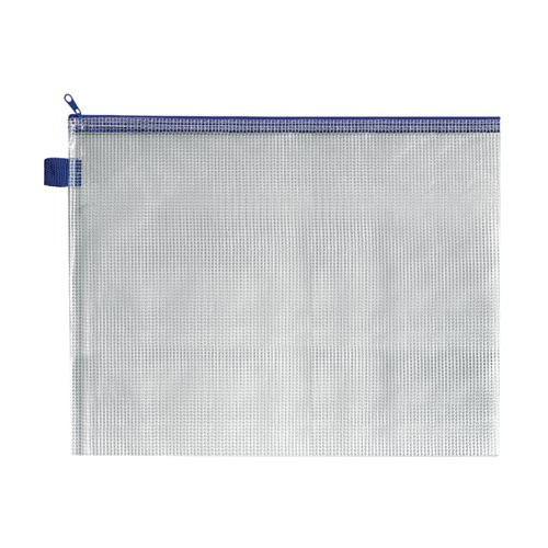 BDS Mesh Zip Bag 360x275mm Blue (Pack of 5) ZIPPER BLUE