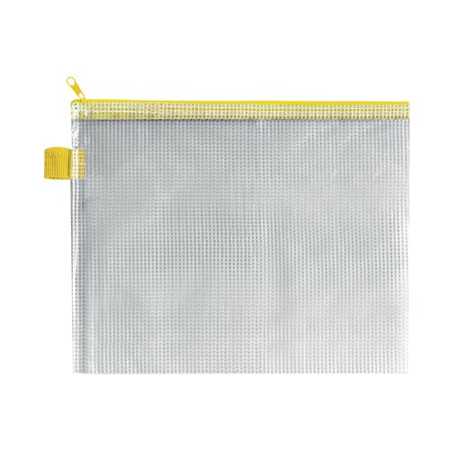 BDS Mesh Zip Bag 255x205mm Yellow (Pack of 5) ZIPPER YELLOW