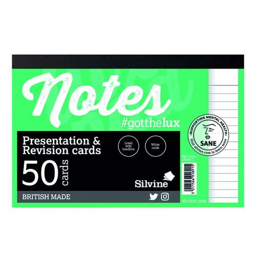 Silvine Revision Presentation and Note Cards White (Pack of 20) CR50-C