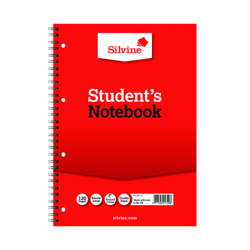 Silvine Feint Ruled Student Notebook A4 120 Pages (Pack of 12) 141