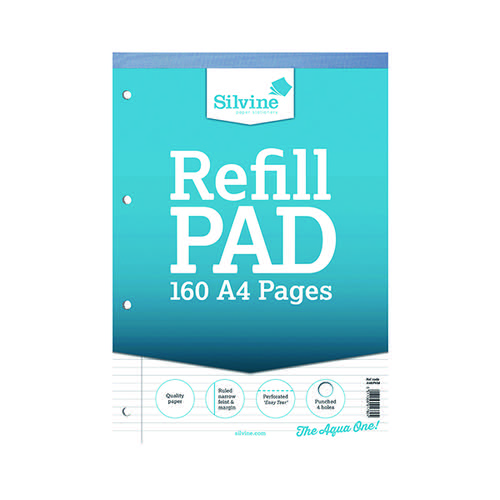Silvine Refill Pad Headbound A4 Narrow Ruled & Margin 75gsm Punched A4RPNM - SINGLE Pad